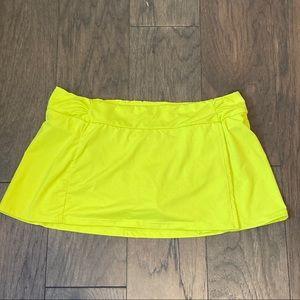 Athleta Shirred Faux Wrap Swim Skirt M Yellow EUC